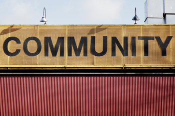 Sign with the word Community