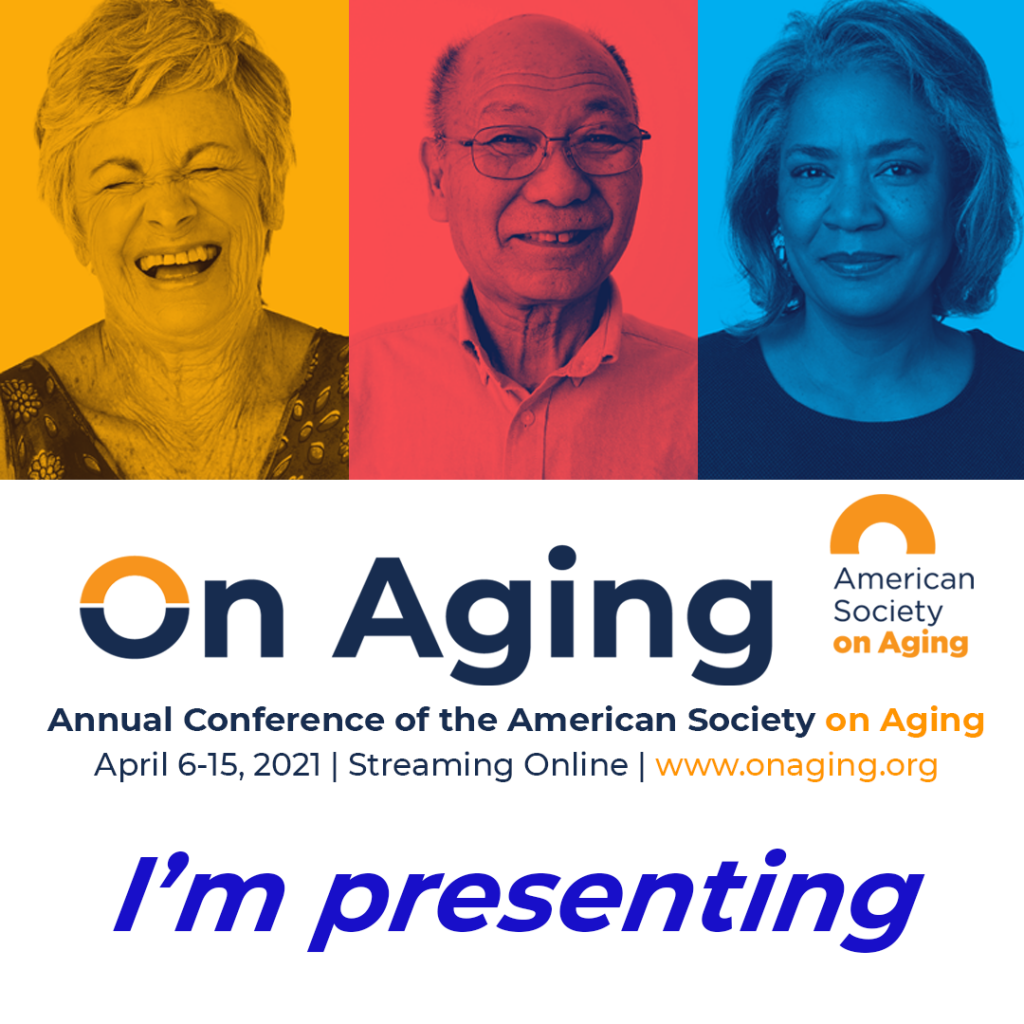 On Aging 2021 badge for presenters